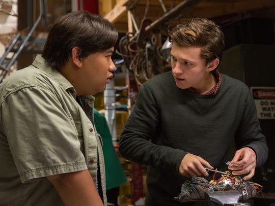 Ned (Jacob Batalon, left) and Peter (Tom Holland) nerd
