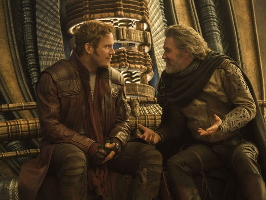 Star-Lord (Chris Pratt, left) meets his dad Ego (Kurt Russell) in 'Guardians of the Galaxy Vol. 2.'