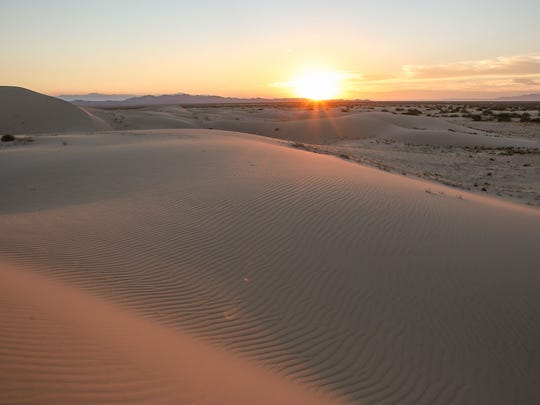 The sun sets over the Cadiz Dunes in Mojave Trails