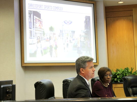 The city's Brian Crawford and Mayor Ollie Tyler during the Sports Complex presentation at council meeting on Tuesday.