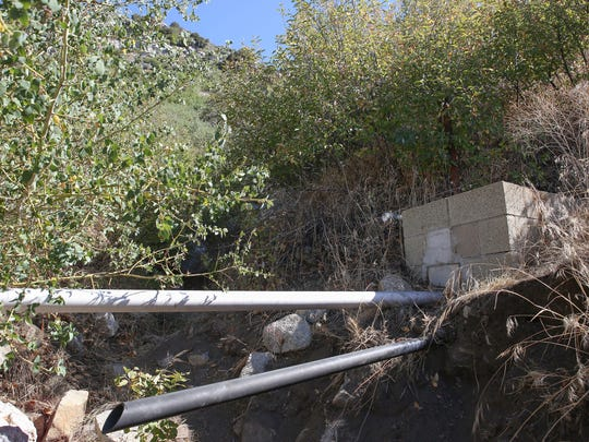 A water pipe runs downhill from one of Nestle's boreholes in the San Bernardino National Forest.