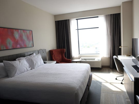 A typical room is pictured at the Hilton Garden Inn