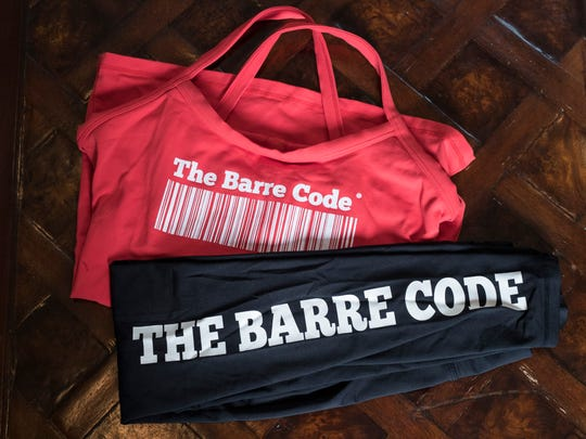 Amanda Hiner can usually be found sporting her Barre Code attire at her gym. Sept. 13, 2017