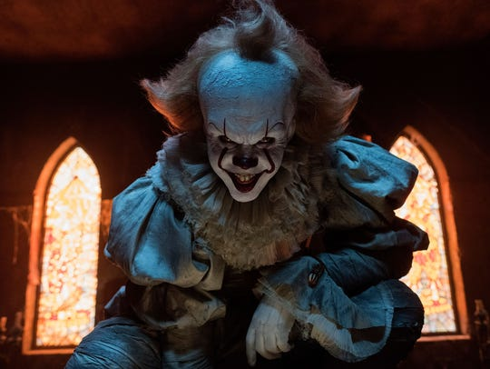 "Bill Skarsgård is evil clown Pennywise in ""It."""
