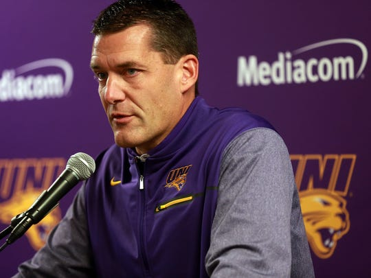 UNI head coach Ben Jacobson discusses his team during