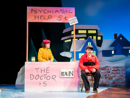 "Ivy Broder (left) dispenses wisdom and tough love to Zachary Church inFirst Stage's ""A Charlie Brown Christmas."""