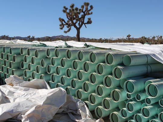 Hundreds of pipes are ready to be installed in the area between Avalon Ave and La Contenta Rd in Yucca Valley, November 24, 2017.