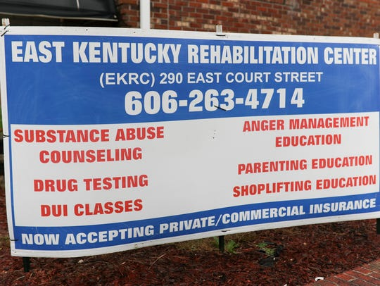 A sign outside the East Kentucky Rehabilitation Center in Prestonsburg, Kentucky, lists its services.