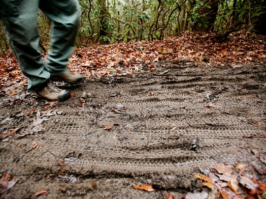 Patrick Scott, Pisgah District trail program manager in the Pisgah National Forest, walks on the Long Branch trail December 5, 2017. Annual visitation reaches4.6 million a year, leaving parking lots overflowing with vehicles and trails rutted and worn.