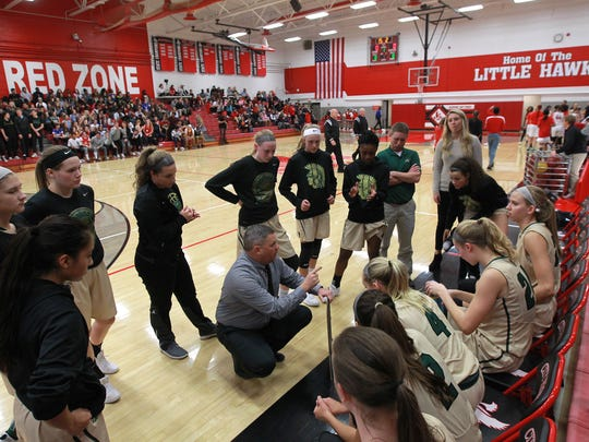 West High head coach BJ Mayer talks with players before their game at City High on Tuesday, Dec. 12, 2017.