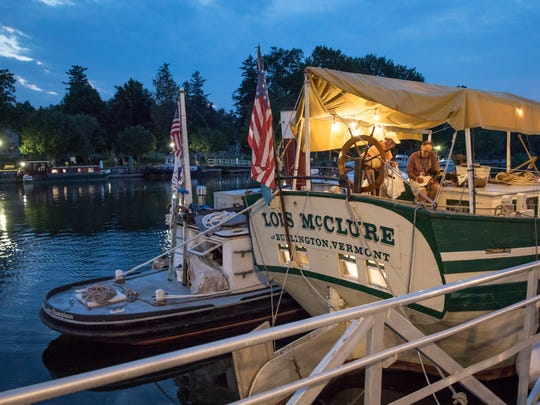 The Lois McClure from the Lake Champlain Maritime Museum will accompany GlassBarge on its journey across New York state.