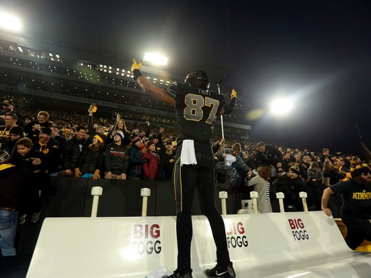 Noah Fant celebrates Iowa's 55-24 demolition of then-No. 3 Ohio State. The tight end caught two of Nate Stanley's five touchdown passes in the historic upset.