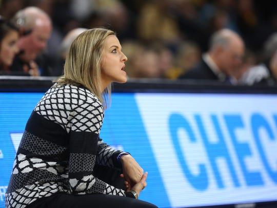 Drake head coach Jennie Baranczyk reacts to a turnover