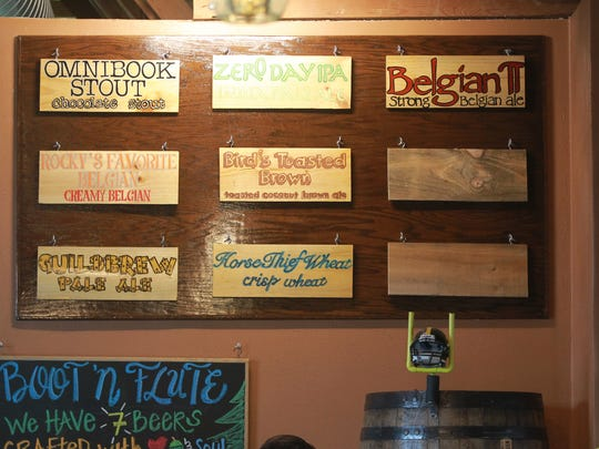 Boot 'n Flute Brewery's beer selection is pictured