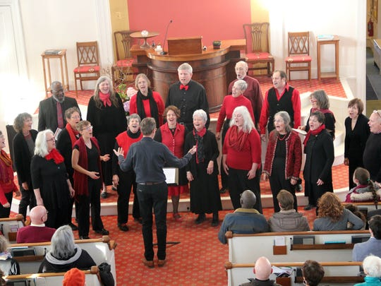 The Montpelier Gospel Choir sings during the annual Dr. Martin Luther King Jr. Remembrance at the First Unitarian Universalist Society in Burlington on Sunday, Jan. 14, 2018.