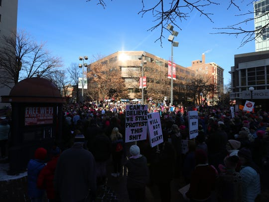 Community members gather for the Women's March in Iowa