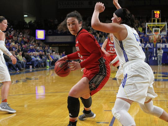South Dakota's Kate Liveringhouse (34) drives to the