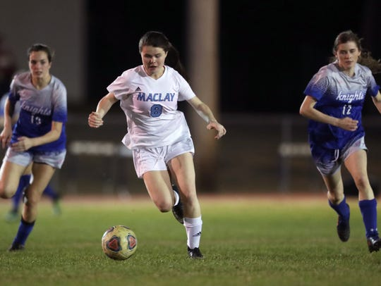 Maclay's Katie Lynch dribbles the ball down field against