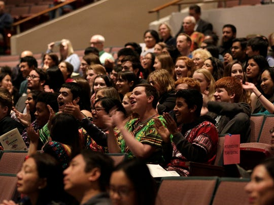Students cheer as winners were announced at last year's Ventura County Academic Decathlon. This year's event begins Saturday.