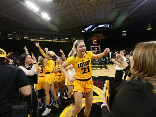 Iowa's Hannah Stewart celebrates the Hawkeyes' win