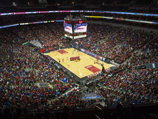 A view of the KFC Yum Center court during a 2017 game.