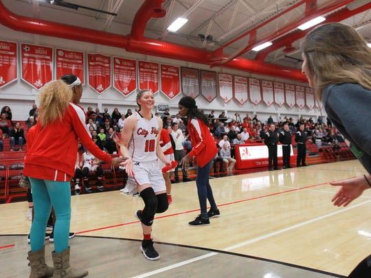 City High's Ashley Joens is introduced before the Little