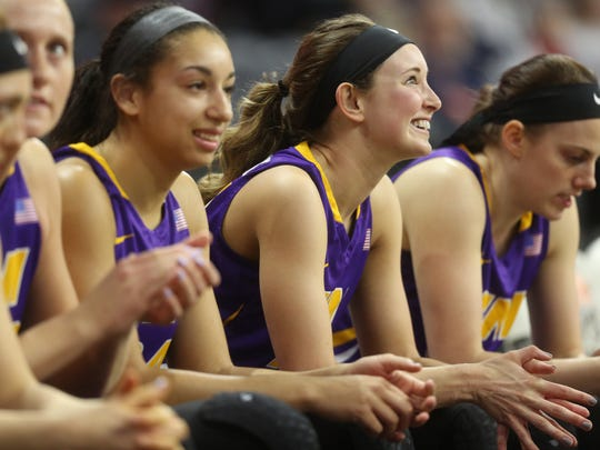 UNI's Kennedy Kirkpatrick sits with teammates before