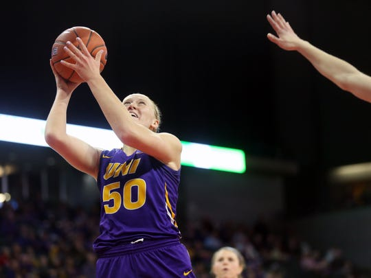 UNI's Megan Maahs takes a shot during the Panthers' MVC Tournament championship game against Drake at the TaxSlayer Center in Moline, Illinois, on Sunday, March 11, 2018.
