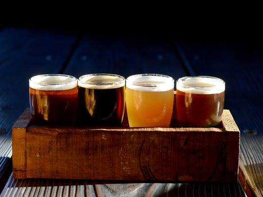 A flight of beer at The Plank Pizza Co. and Beer Parlor