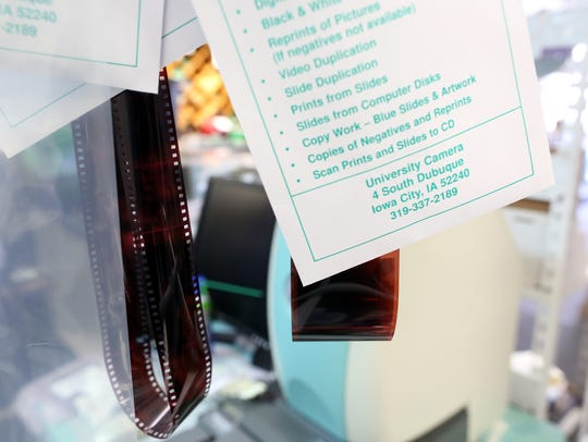Film strips hang inside University Camera on Thursday,