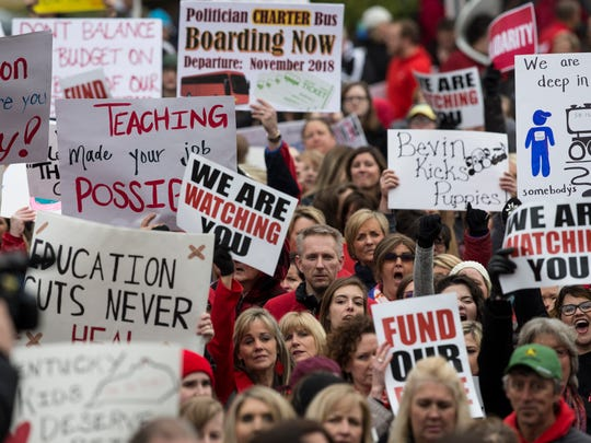 Teachers rallied in front of KEA headquarters before marching on the Kentucky State Capitol to protest recent changes to their pensions. April 2, 2018