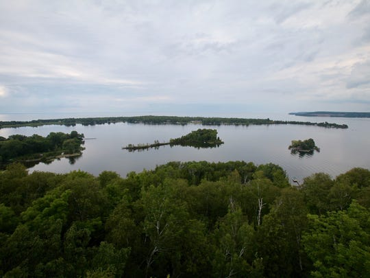 The 75-foot observation tower on a bluff at Potawatomi State Park outside Sturgeon Bay provides a view from 225 feet above Green Bay.
