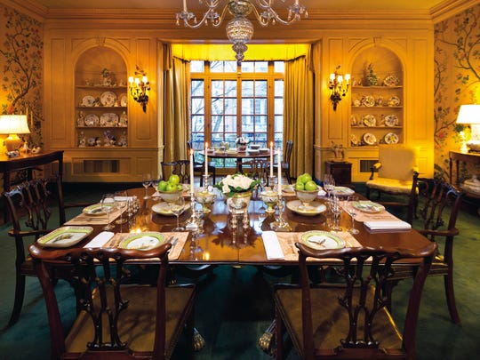 The dining room at the Rockefeller's East 65th Street townhouse.
