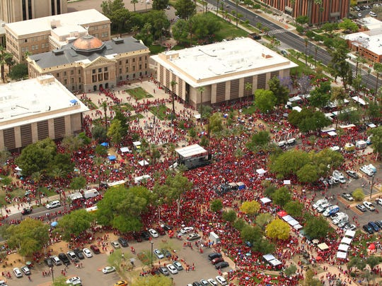 Arizona teachers march to the Arizona state Capitol