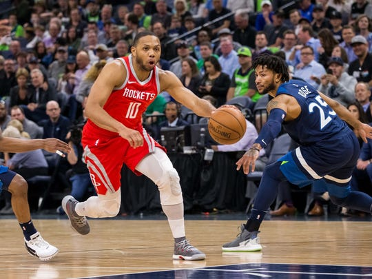 Houston Rockets guard Eric Gordon (10) dribbles in the second quarter against Minnesota Timberwolves.