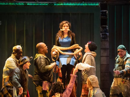 """Rachael Zientek is a bit tied up in Skylight Music Theatre's production of """"Urinetown."""""""