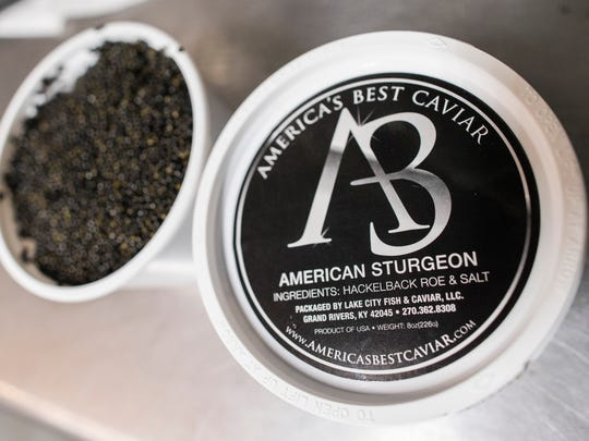 America's Best Caviar is the retail brand packaged at the Lake City Fresh Fish Market in Grand Rivers, Kentucky. April 11, 2018