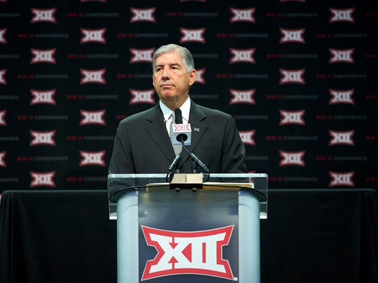 Big 12 commissioner Bob Bowlsby speaks during NCAA