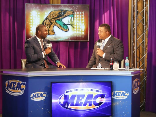 Willie Simmons (left) goes one-on-one with ESPN's Jay Walker during MEAC Media Day. The Rattlers were picked to finish fifth in the conference. Currently, they are in first place heading into this weekend's game versus North Carolina A&T State.