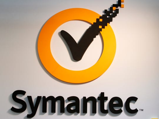 The logo of Symantec Corp., is displayed at the CeBIT technology fair in Hanover, Germany, on Tuesday, March 6, 2012.