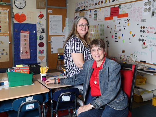 Patty-Jo Smith Kegler, a first-grade teacher at Primrose School, and her mother Doris-Jane Smith, a permanent substitute at the school are photographed in Smith Kegler's room April 25, 2018 in Somers. The two often work in the same classroom together.