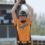 Colonel Crawford sophomore Sydney Studer prepares to deliver a pitch against Carey earlier this season. Studer led the N10 in every pitching category.