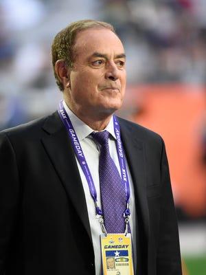 Broadcaster Al Michaels looks on before Super Bowl XLIX at University of Phoenix Stadium.