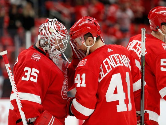 Red Wings goaltender Jimmy Howard (35) celebrates with