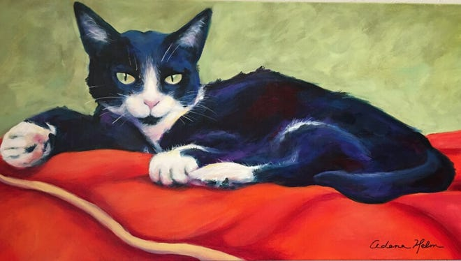 Cat image by artist Adena Helm which will be in the Shreveport Art Club member Show at Louisiana State Exhibit Museum.
