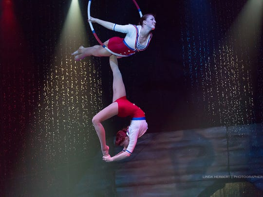 Two aerialists perform with Cirque Italia, with seven performances at JetBlue Park in Fort Myers on Thursday through Sunday.