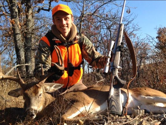 Hayden Crouch killed this 8 point buck at 8:45 a.m. on Nov. 18 of the regular firearms deer season near his home in Bradleyville. This was the first year Hayden was too old to qualify for the youth deer season, so this was also the first year he didn't hunt with me — his dad. But on day four he proved he didn't need ol' dad anymore by taking this mature buck at an eye-squinting distance of 419 yards with a .257 Weatherby magnum rifle. After nine years of accompanying Hayden during youth seasons I guess I could say...my work is done here. Good job son. — Jason Crouch