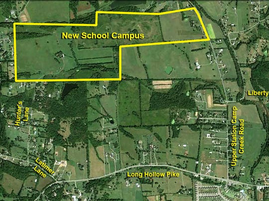 This map shows the land proposed for a new K-12, three-school