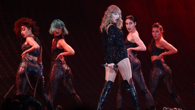 Taylor Swift performs during her Reputation Stadium Tour at MetLife Stadium in East Rutherford on Friday, July 20.