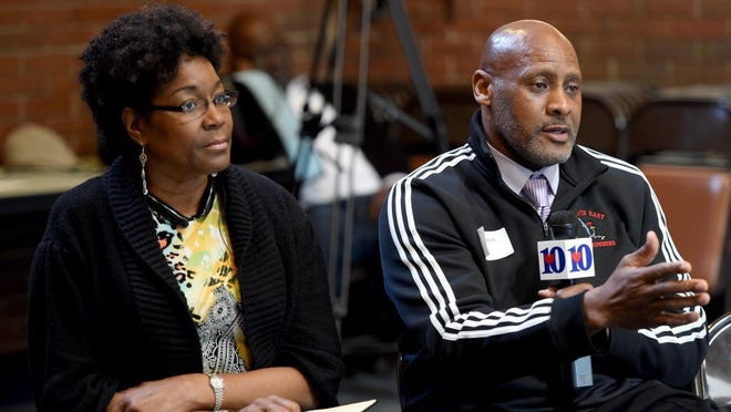 Left to right, Knox County school board member Gloria Deathridge and Alvin Amsted Jr., assistant principal at Austin East Magnet High School, participate in a round table discussion on parental involvement and leadership, community awareness and new collaboration between organizations at Pellissippi State Community College Thursday, April 7, 2016. The event was a follow up to the Stop the Violence community conversation held at Fulton High School.